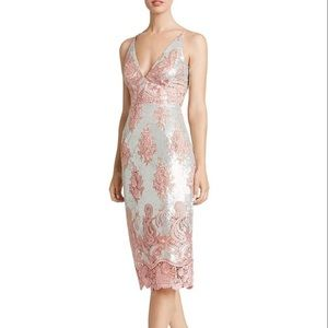 NWOT Dress the Population Silver/Pink Lace Dress